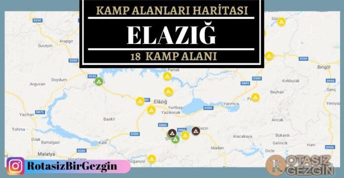 Elazığ Ucretli ve Ucretsiz Kamp Alanlari Haritasi