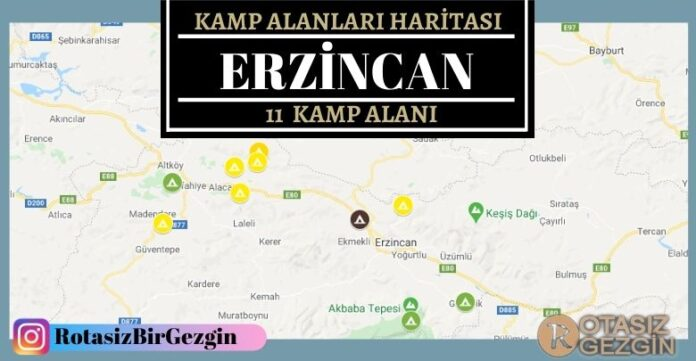 24 Erzincan Ucretli ve Ucretsiz Kamp Alanlari Haritasi