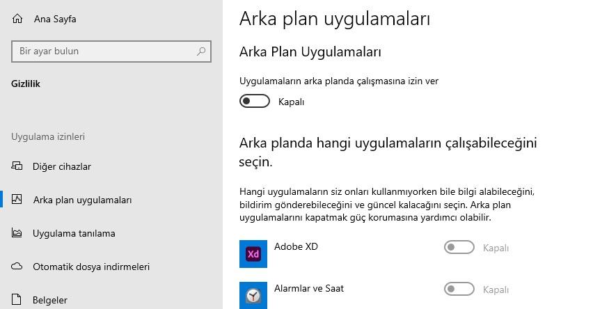 Windows 10 Arka Plan Uygulamaları