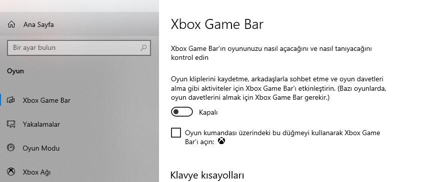 Windows 10 Ayarlar Oyun Performansı