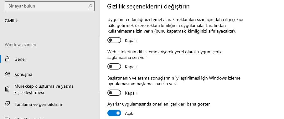 Windows 10 Gizlilik Seçenekleri